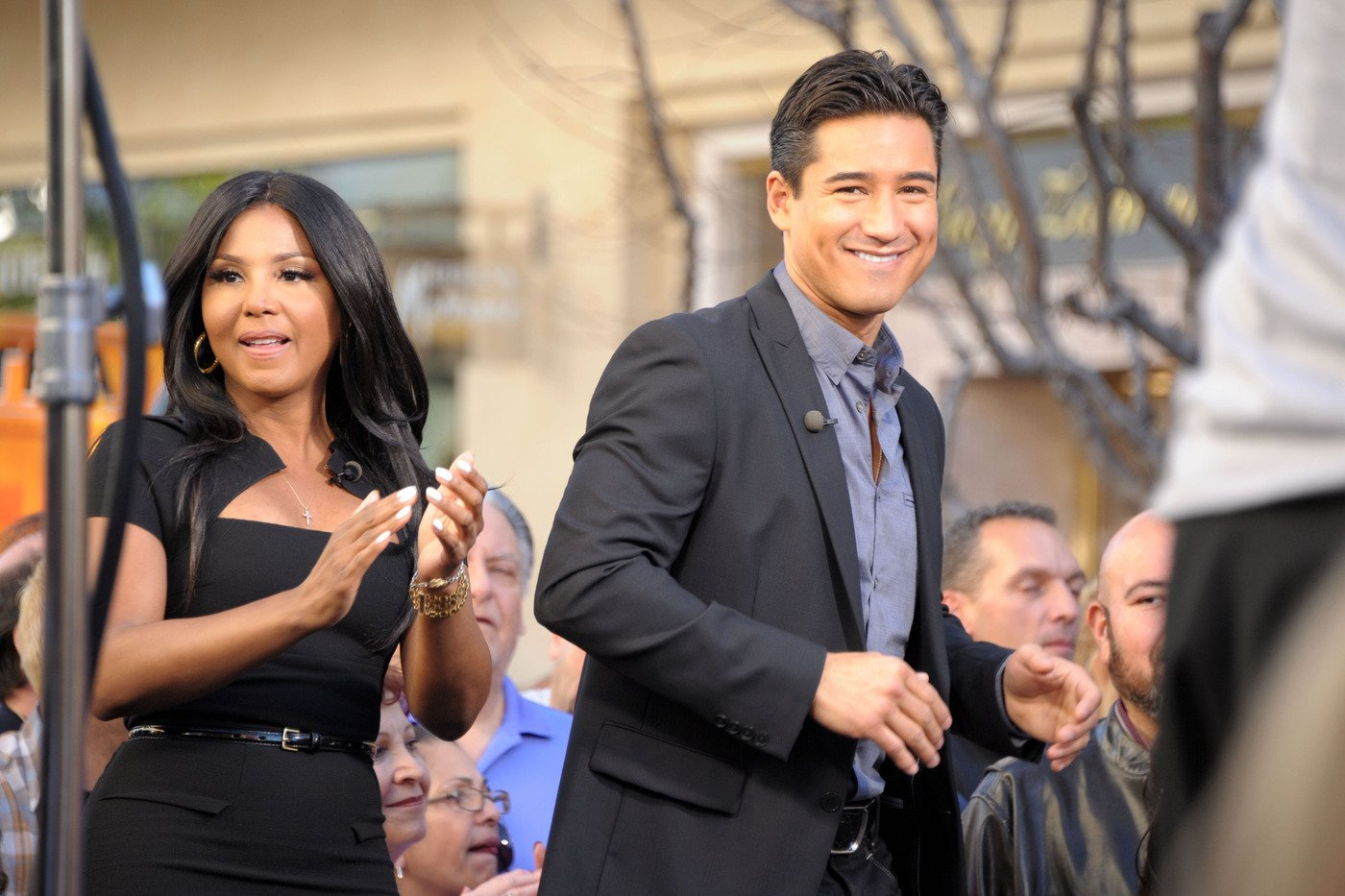 Singer Toni Braxton makes her appearance on 'Extra' with Mario Lopez at the Grove in Los Angeles